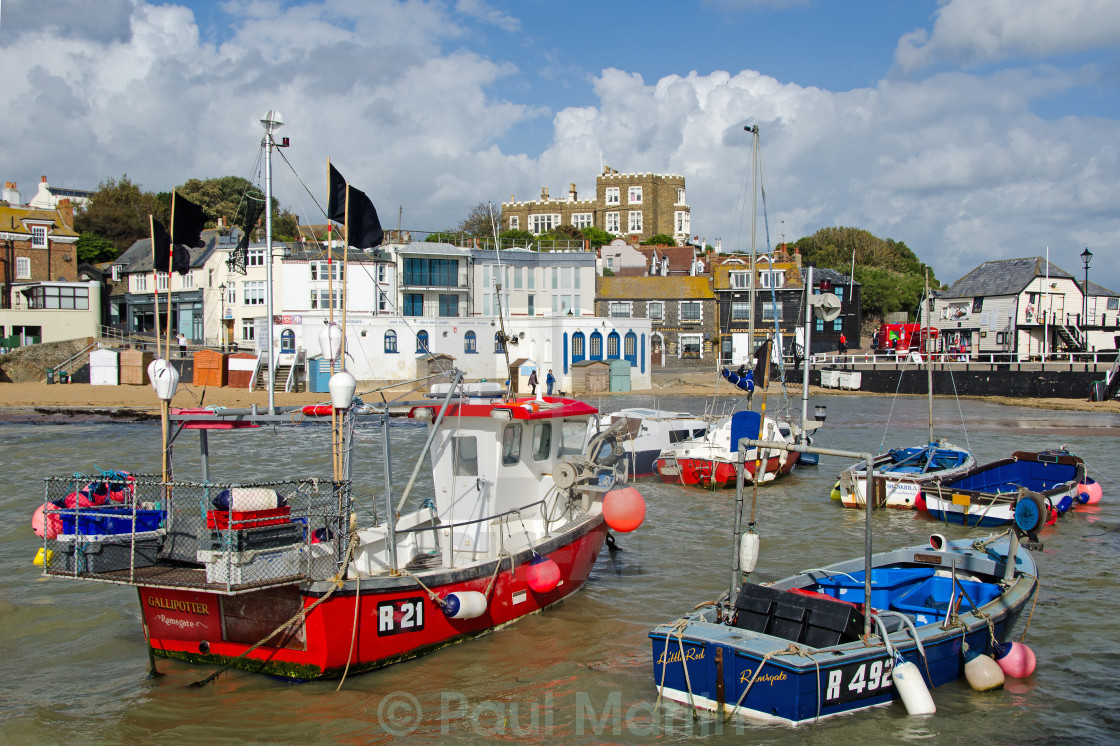 """Boats in the Harbour at Broadstairs,, Kent, UK"" stock image"