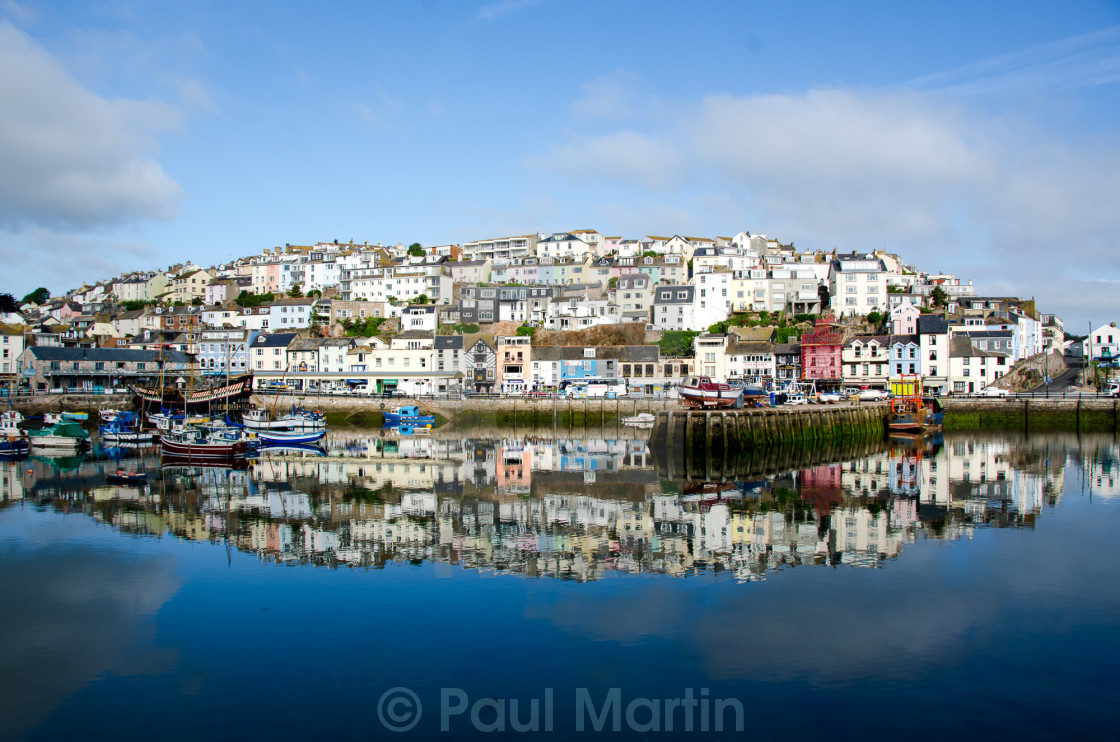 """Brixham Harbour in early morning light."" stock image"