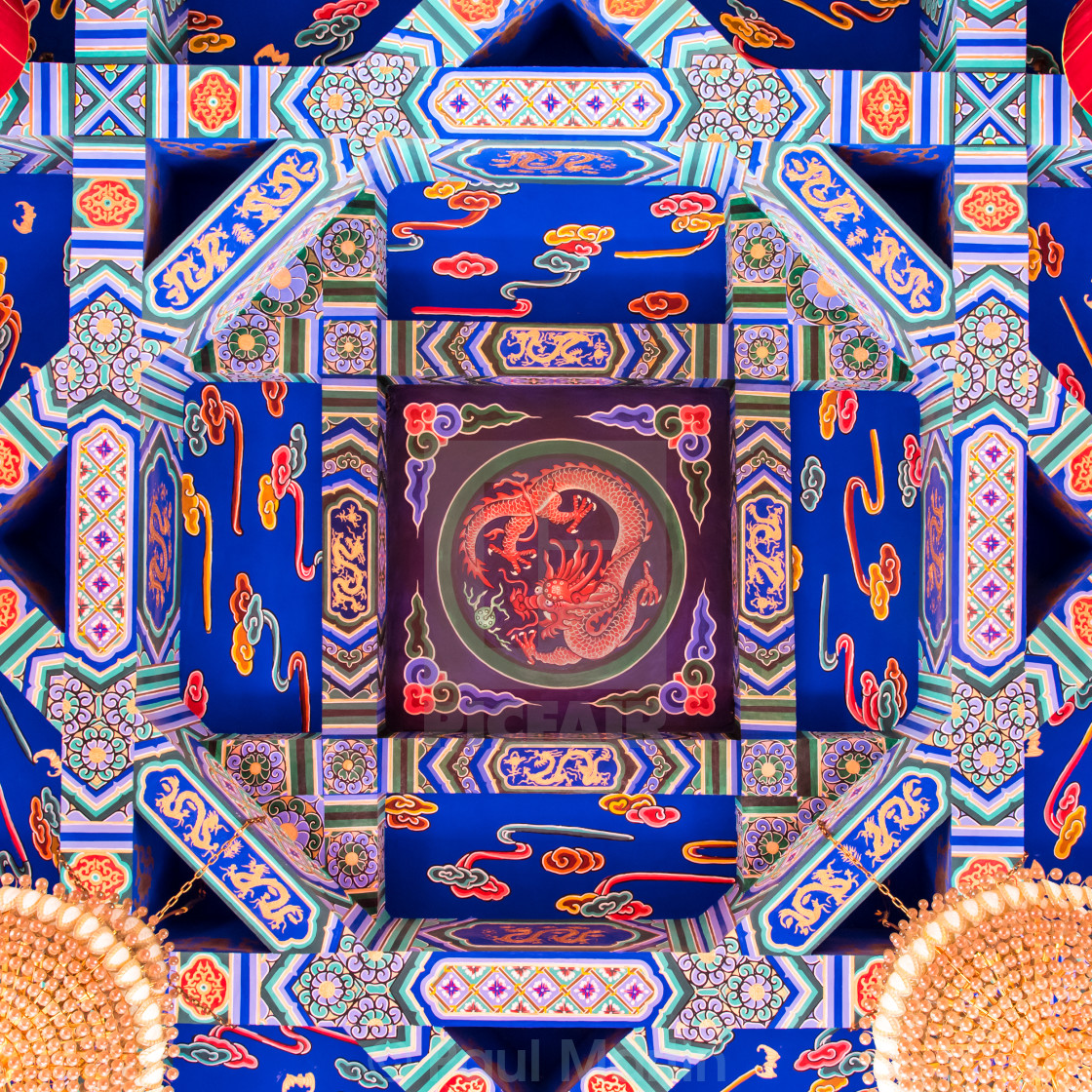 """Ceiling of a Chinese Temple"" stock image"