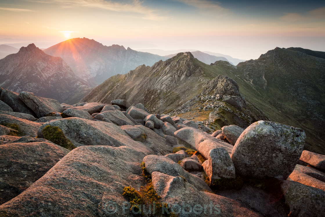 """""""Sunset From Goat Fell, Isle of Arran"""" stock image"""