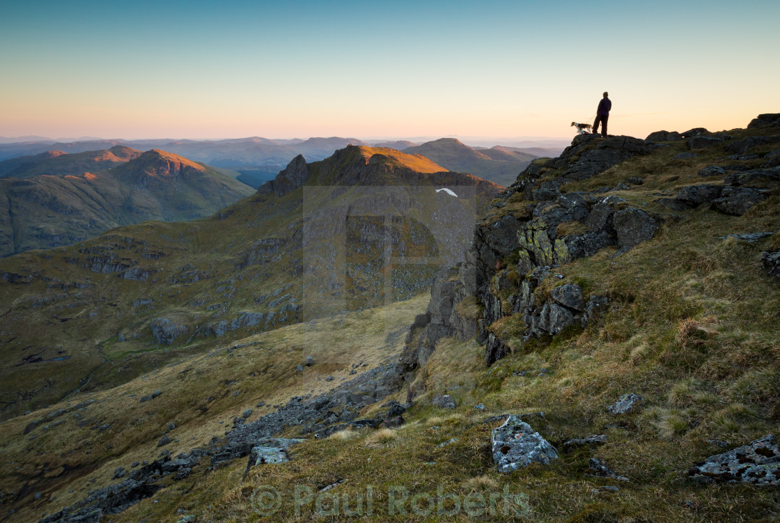 """Hillwalker on Ben Narnain"" stock image"