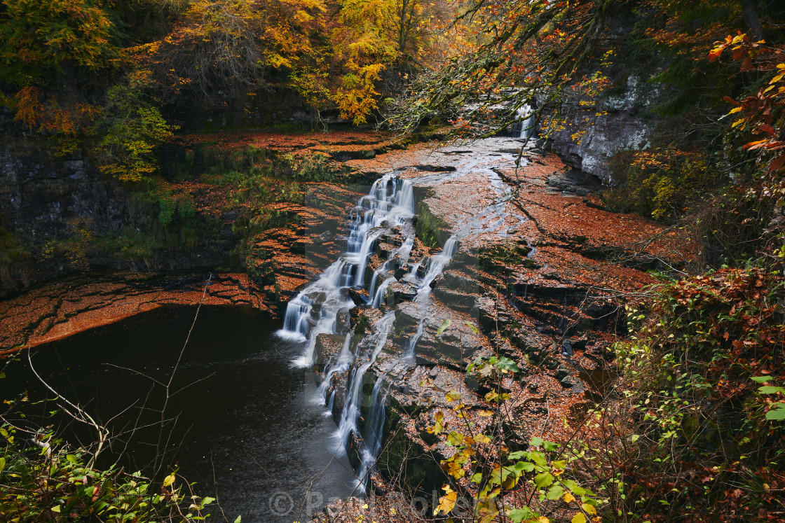 """Waterfall in Autumn"" stock image"