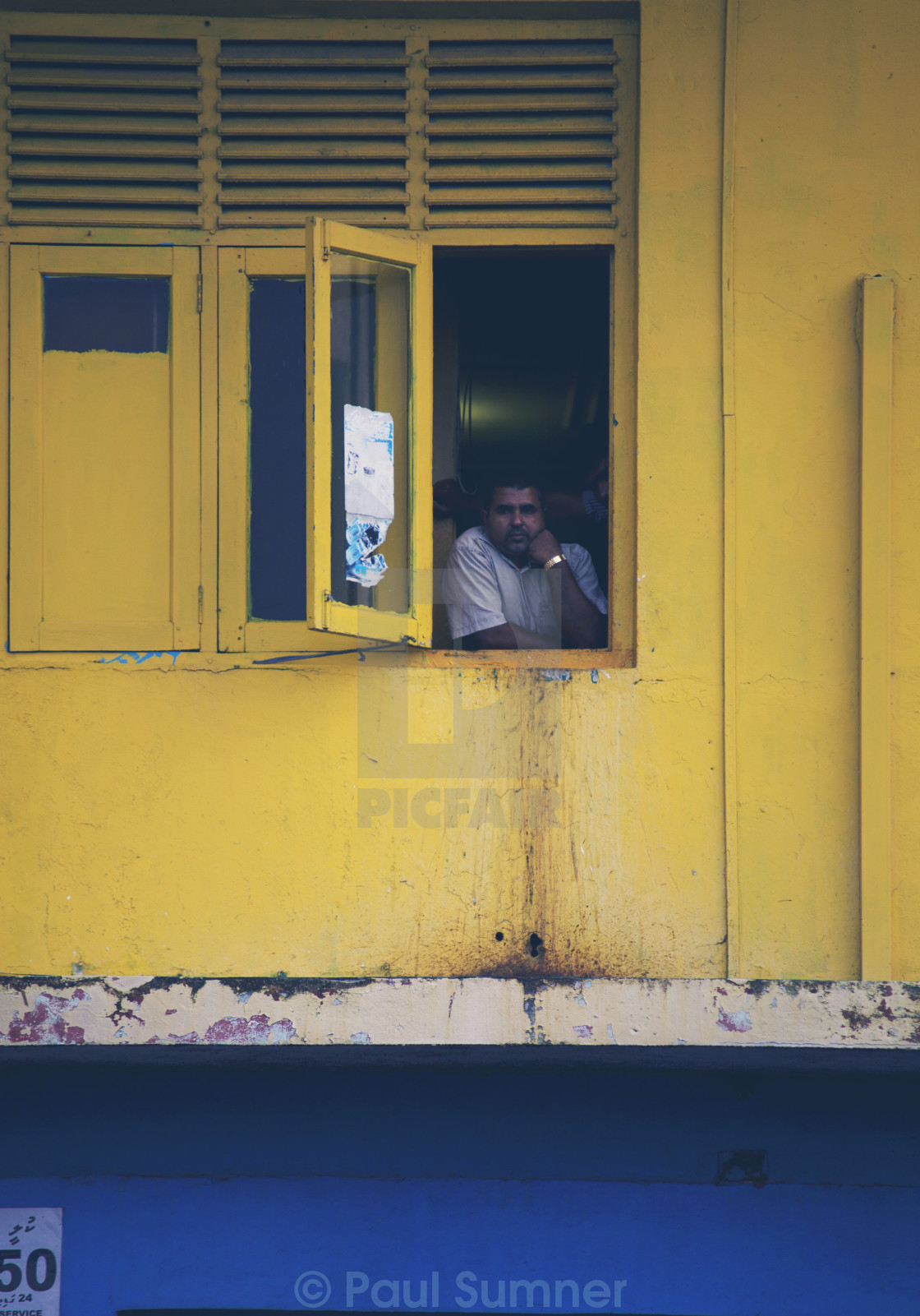"""Man in window"" stock image"