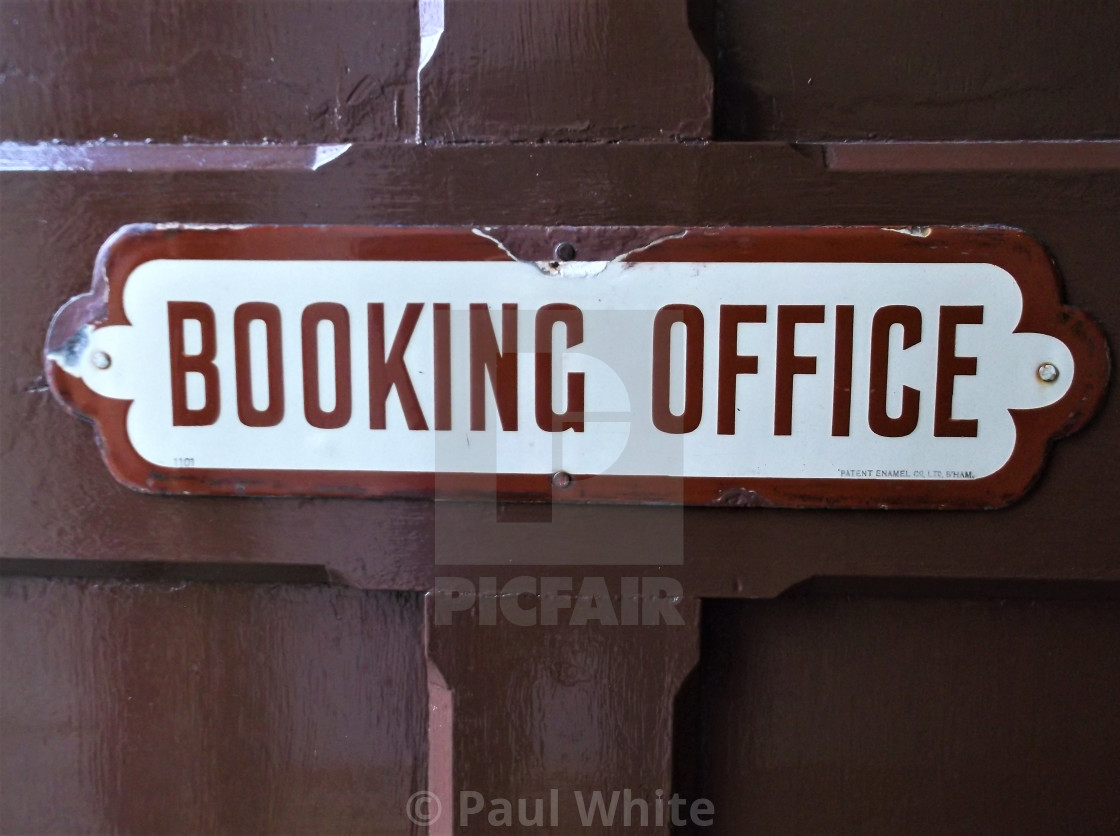 """Antique booking office sign"" stock image"