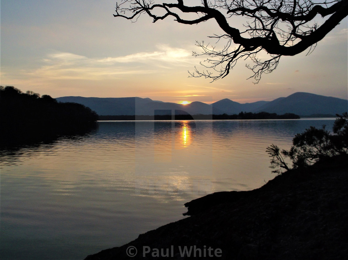 """Sunset over Loch Lomond"" stock image"