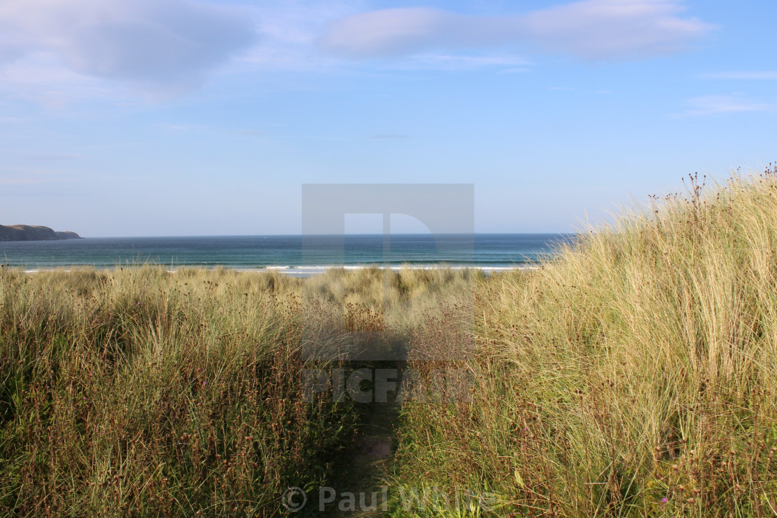 """Sand dunes and sea"" stock image"
