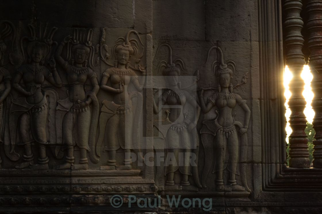 """Angkor Wat Wall carvings"" stock image"