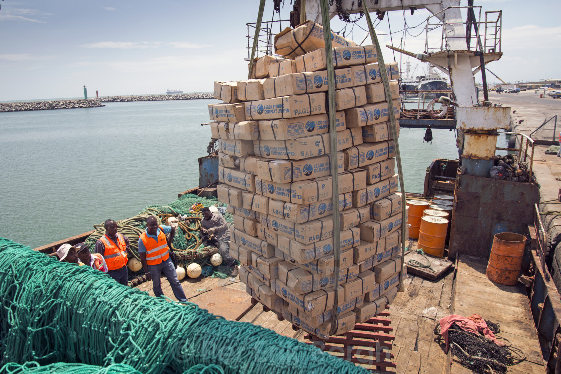 """Catch being offloaded"" stock image"