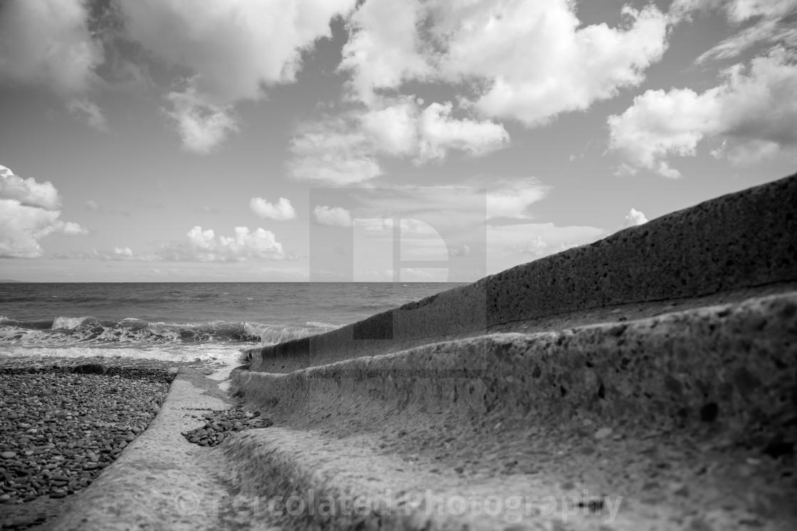 """""""Slipway at Amroth Beach"""" stock image"""