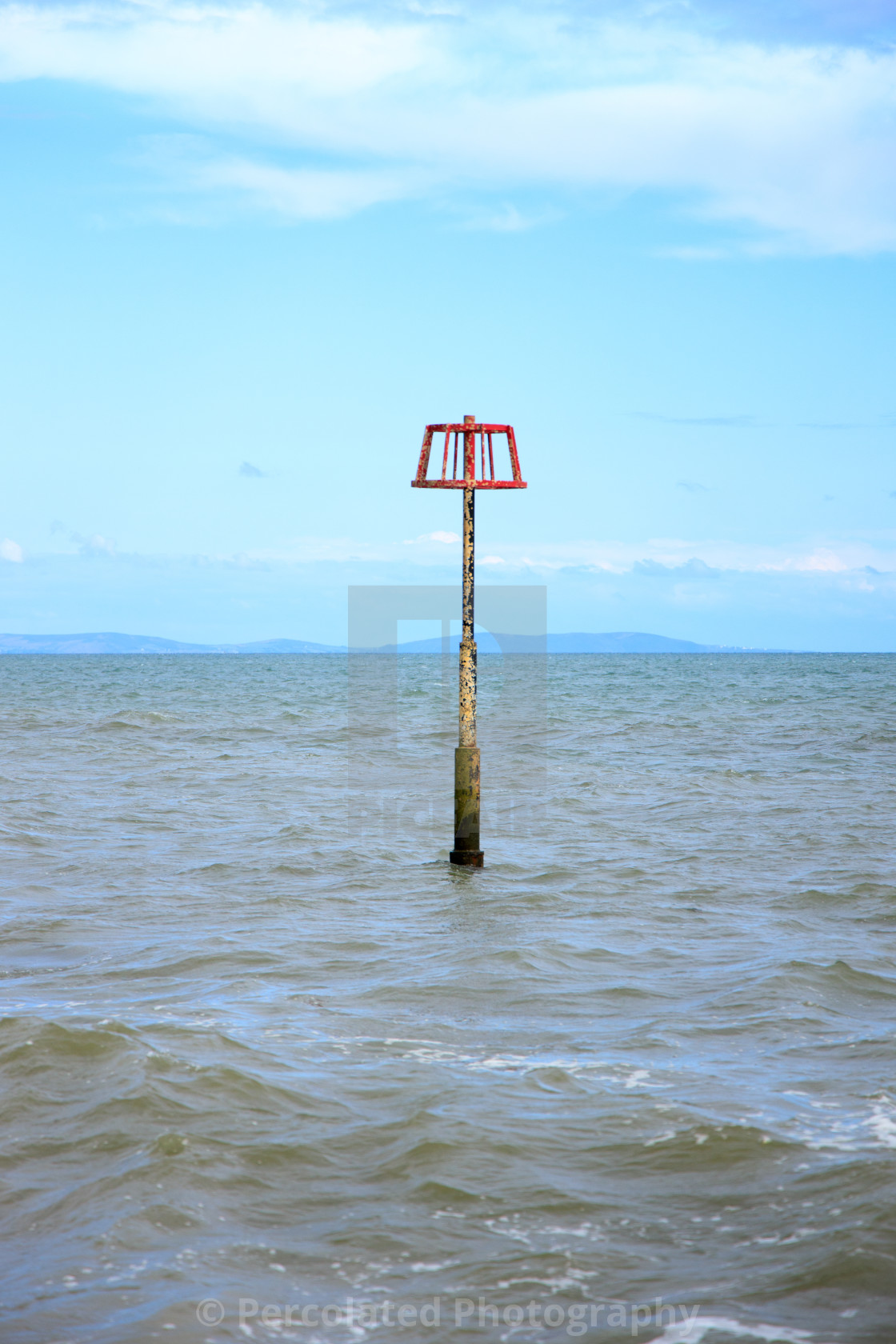 """Navigation Marker at Amroth Beach"" stock image"