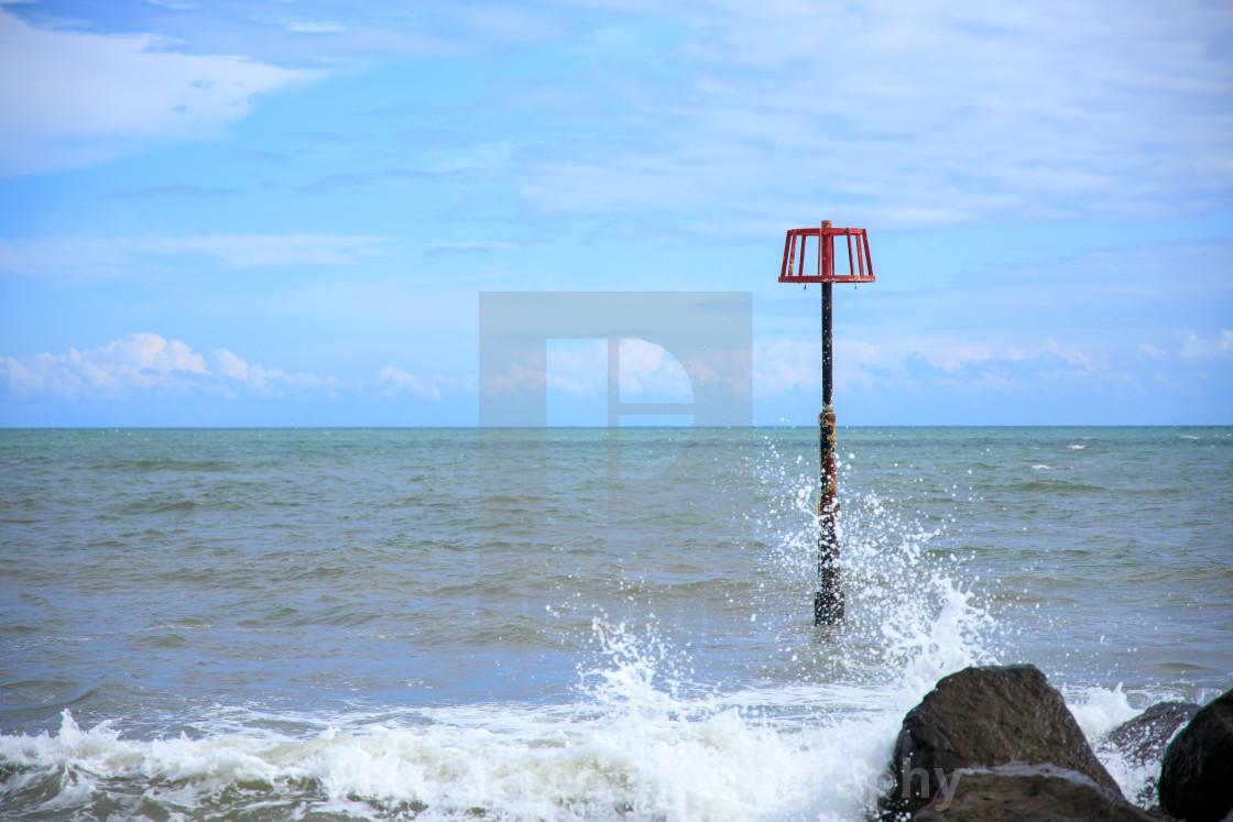 """Navigation Marker at Amroth Beach"" stock image"