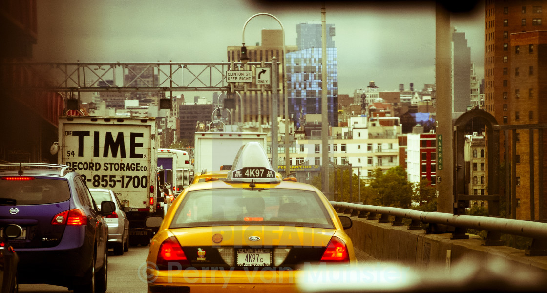 """Inside Taxi to Manhattan"" stock image"