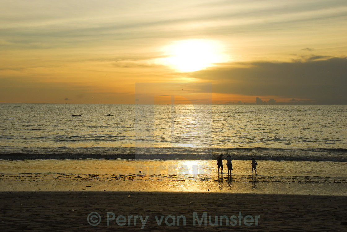 """Sunset at beach in Bali"" stock image"