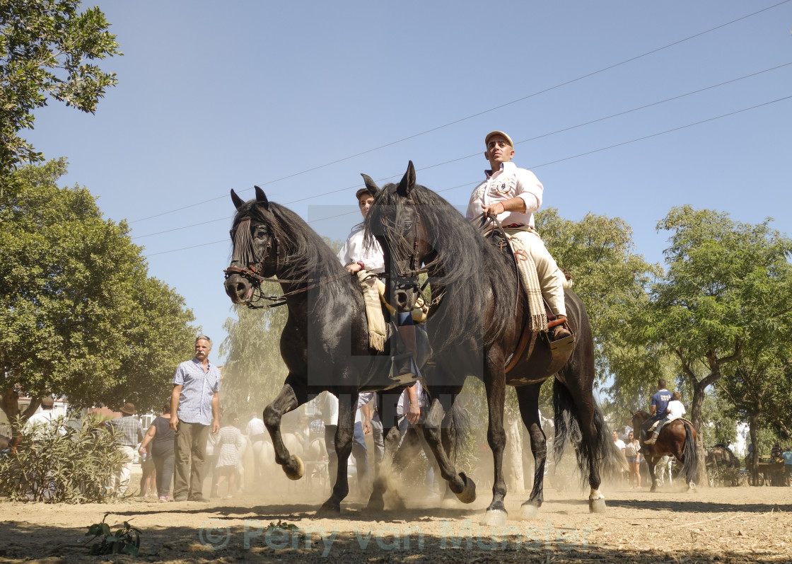"""Men on horse during romeria"" stock image"