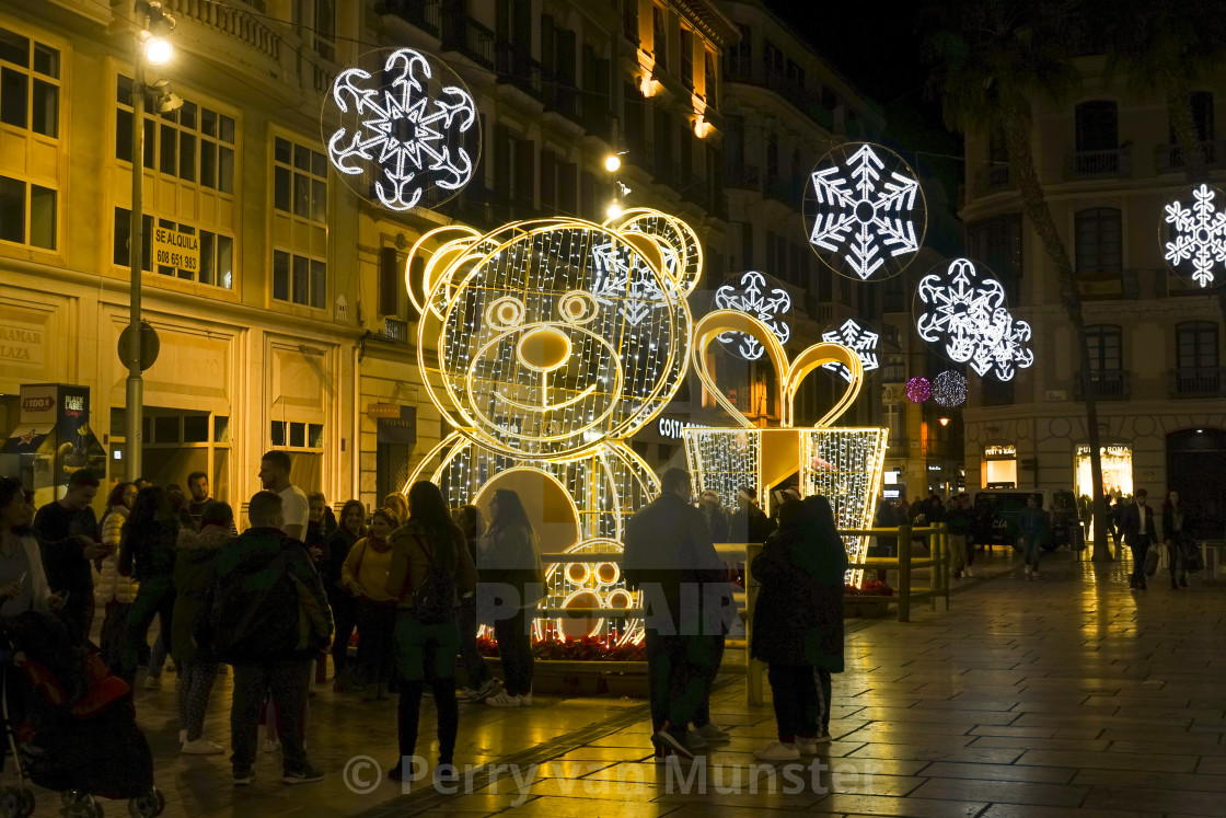 """Christmas lights decorations, Calle Larios, Malaga city, Andalusia, Spain."""
