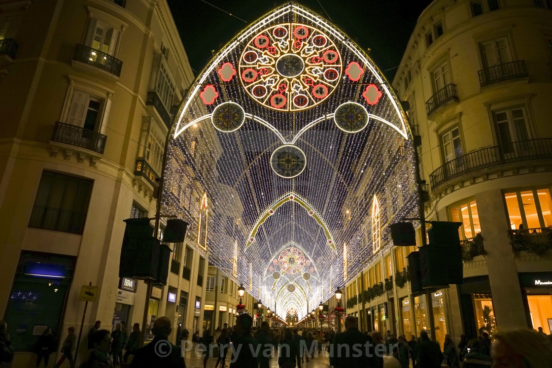 """Christmas lights decorations, arch, Calle Larios, Malaga city, Andalusia, Spain"