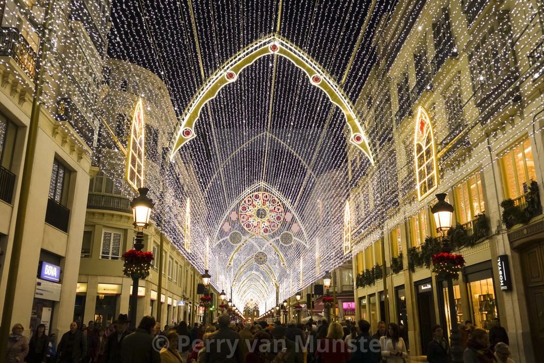 """Christmas lights decorations, arch, tree, Calle Larios, Malaga city, Andalusia"