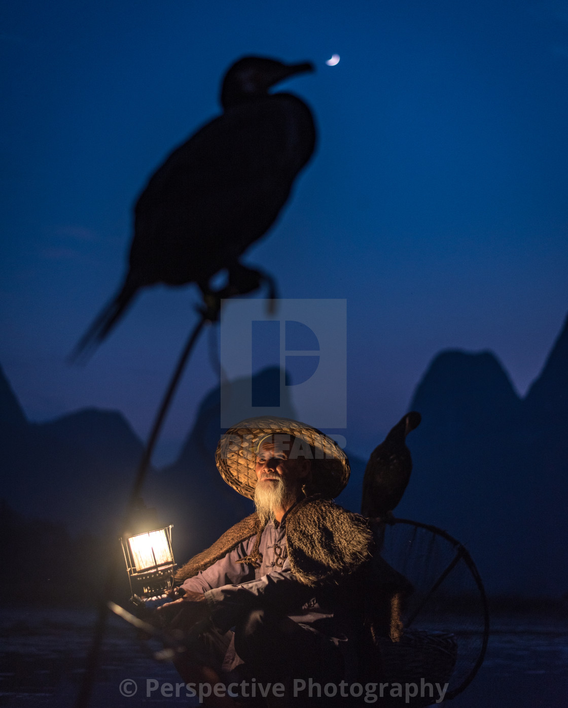 """Guilin Cormorant Fisherman"" stock image"