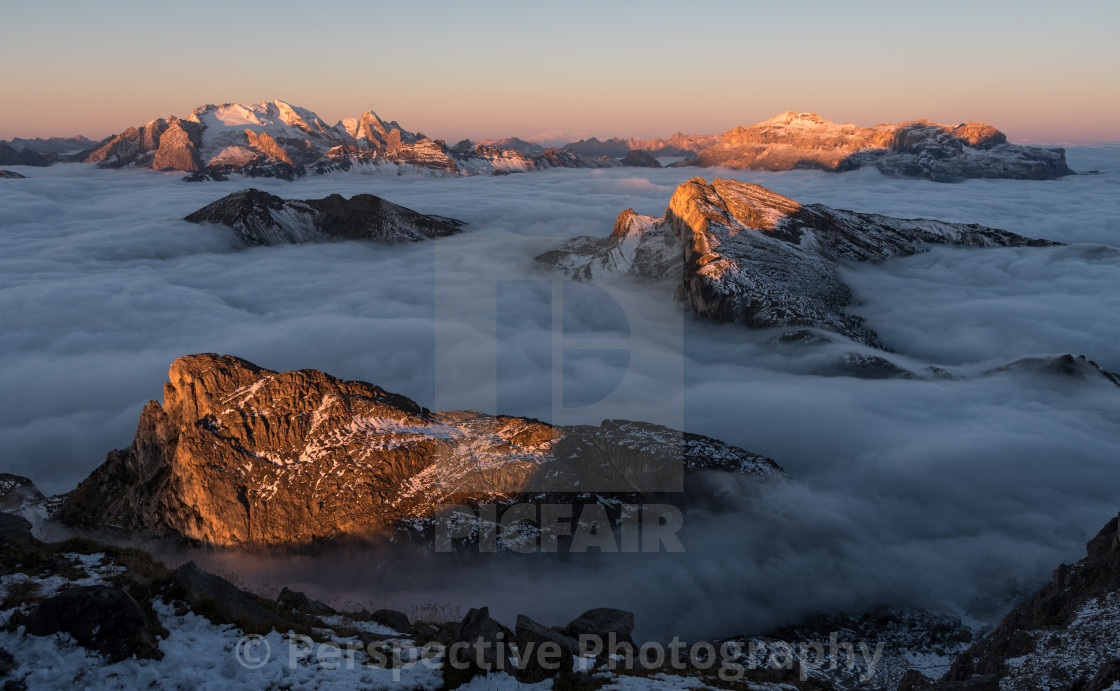 """Sea of Cloud - Lagazuoi, Dolomites"" stock image"