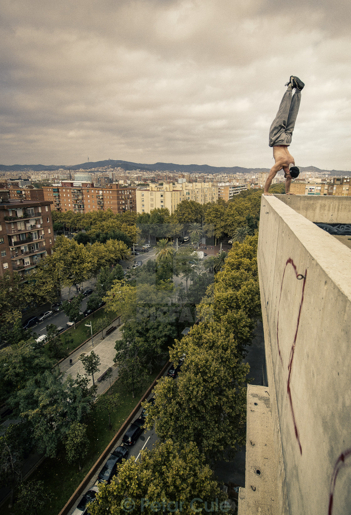 """Handstand over Barcelona"" stock image"
