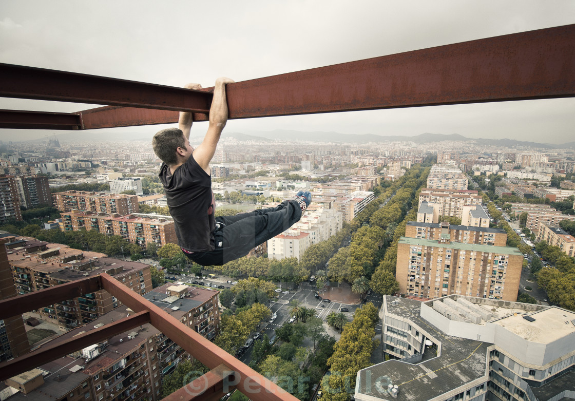 """Hanging Above Barcelona"" stock image"