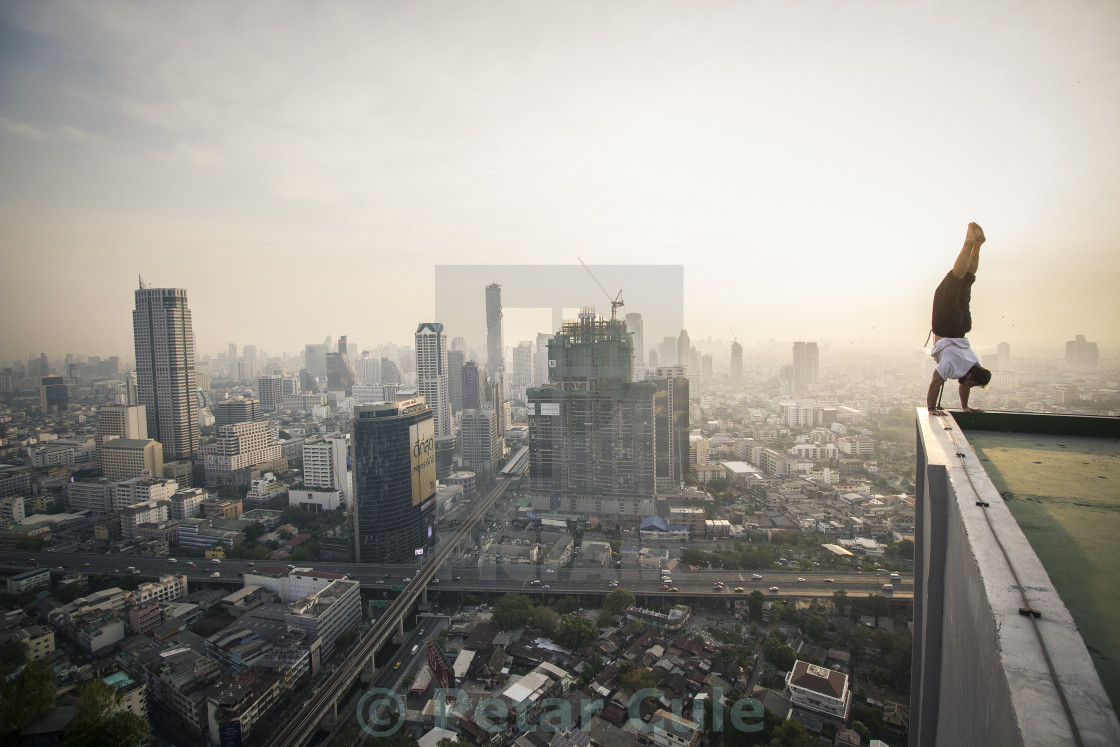"""Handstand over Bangkok"" stock image"