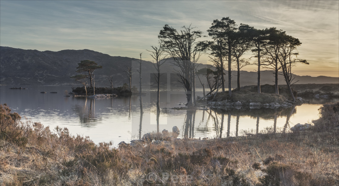 """Refelctions at Loch Assynt"" stock image"