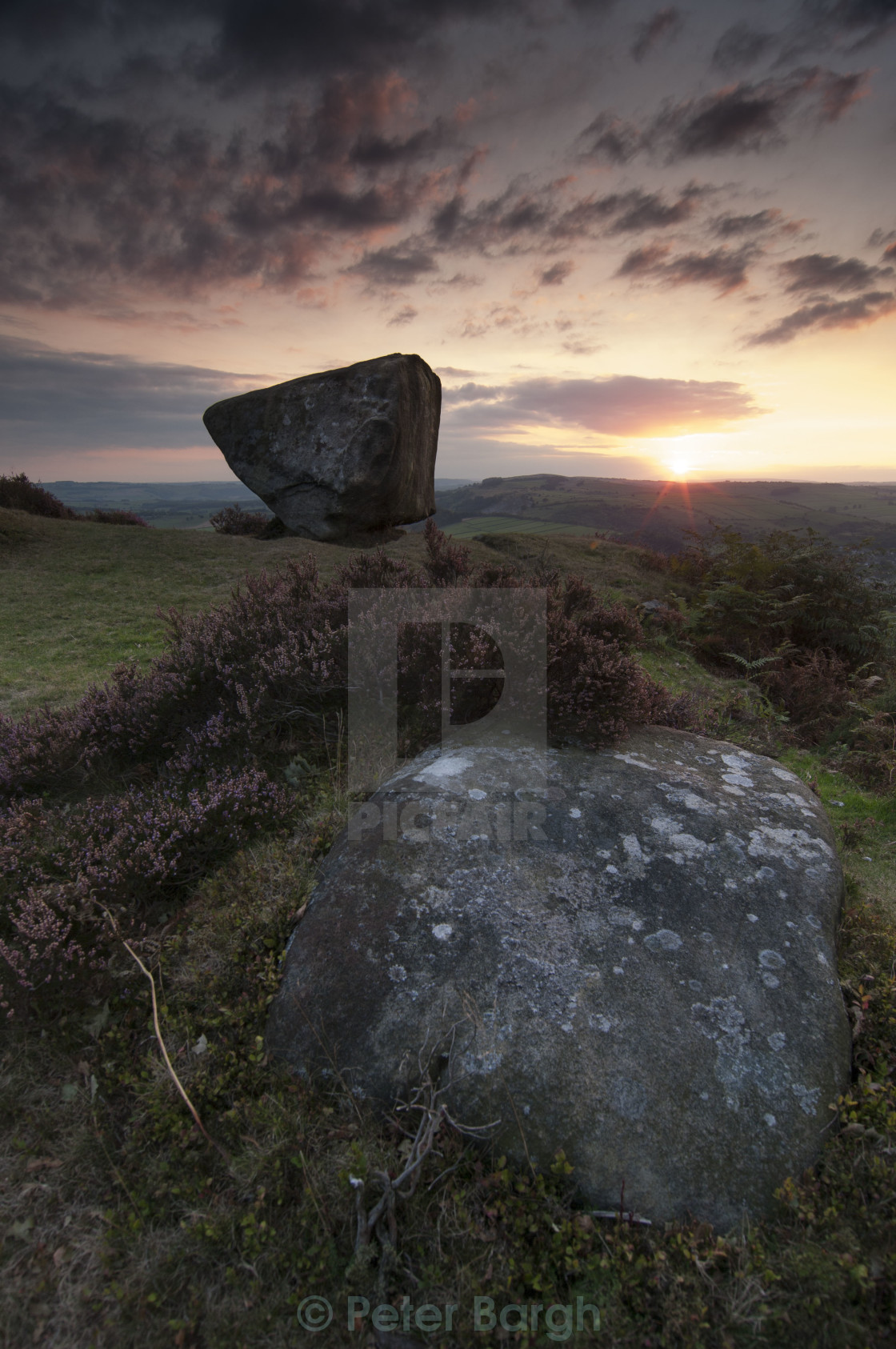 """Sunset at Baslow Edge"" stock image"