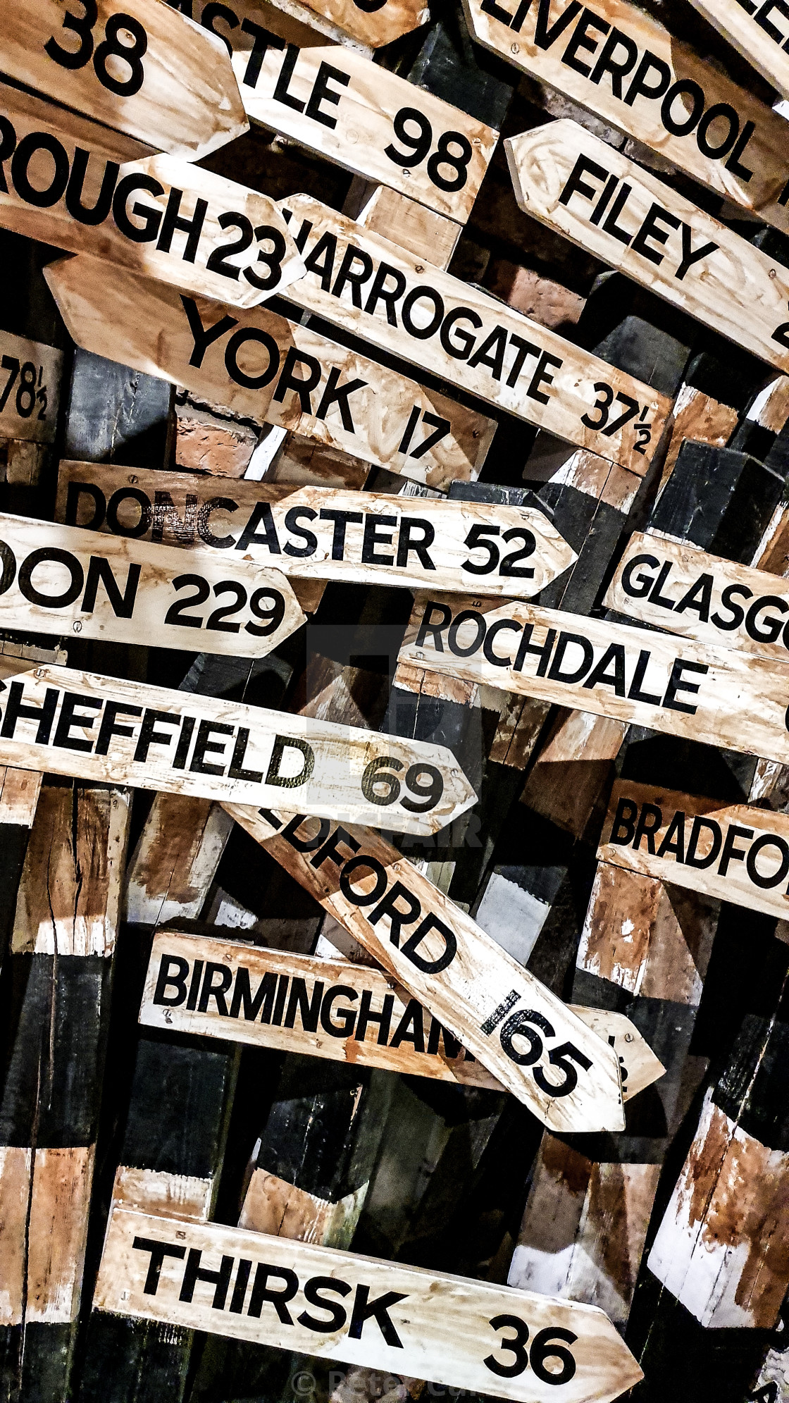 """""""Wartime Road Signs"""" stock image"""