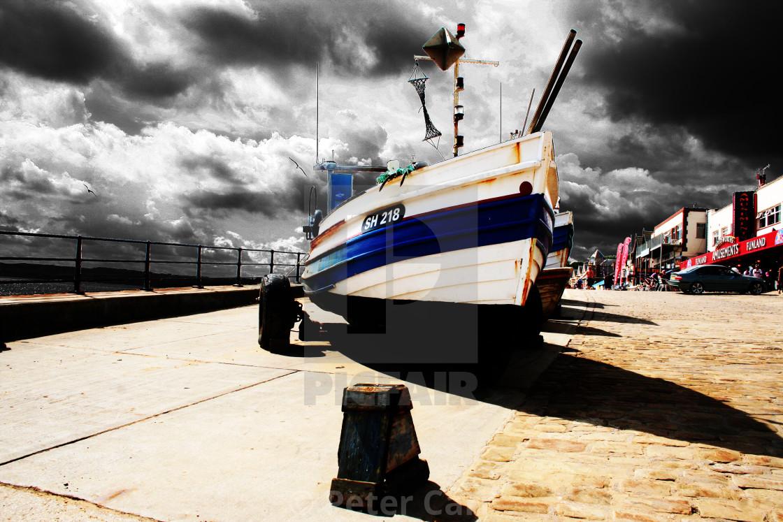 """Fishing Boat On Coble Landing"" stock image"