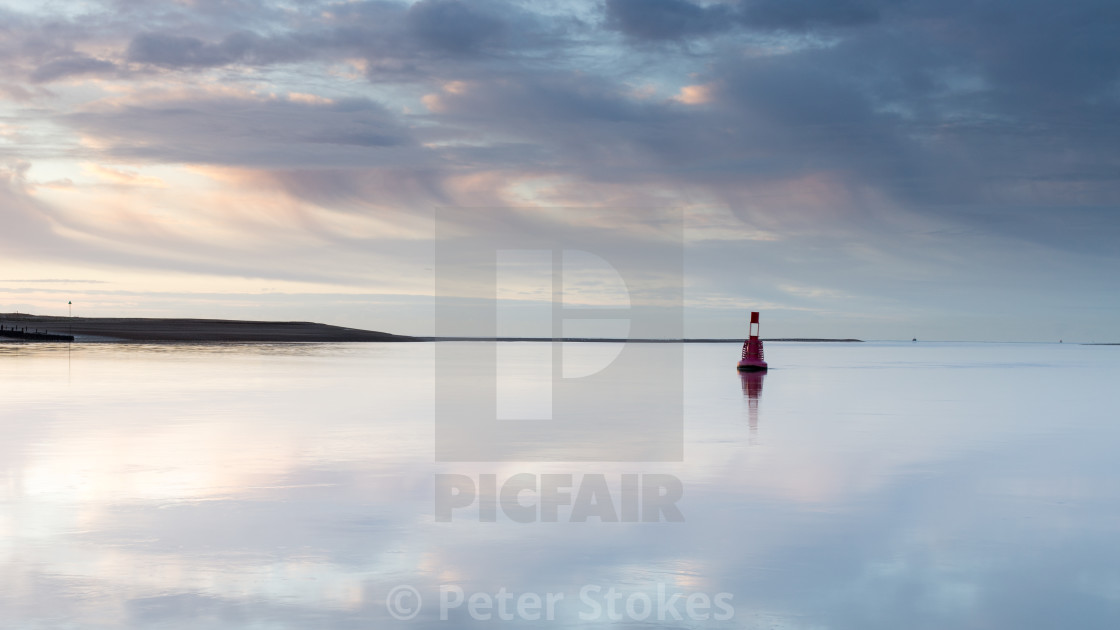 """Dawn, River Deben, Suffolk"" stock image"