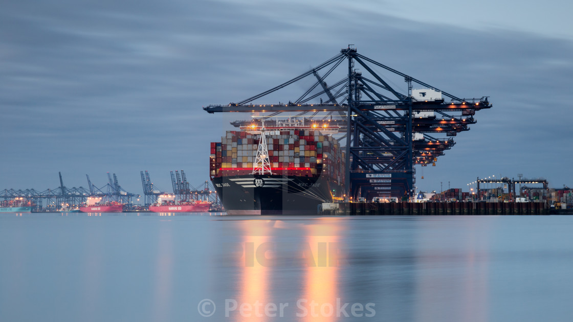 """Felixstowe port at dusk"" stock image"