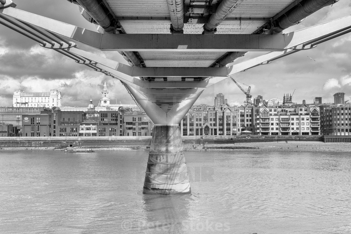 """London's iconic Millennium Bridge"" stock image"