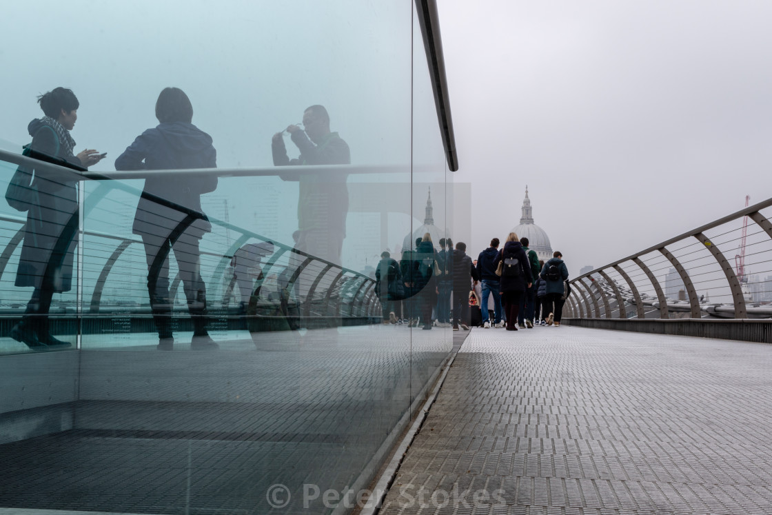 """Grey Day Reflection, Millennium Bridge, London"" stock image"