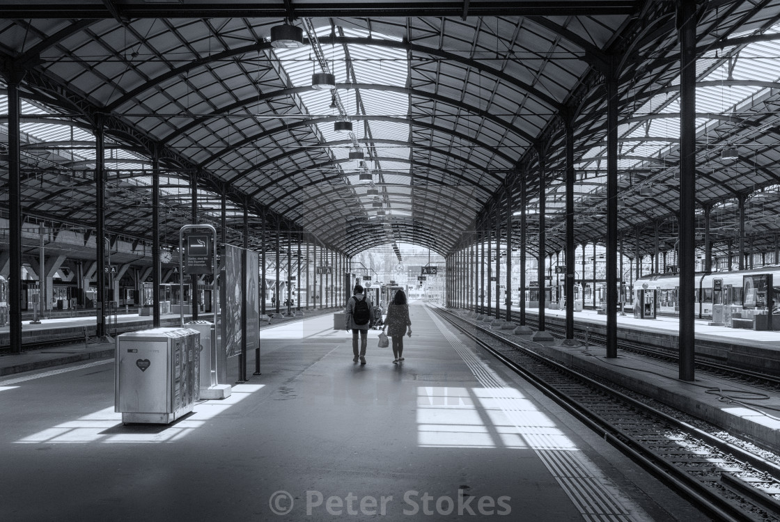 """Luzern train station in monochrome"" stock image"