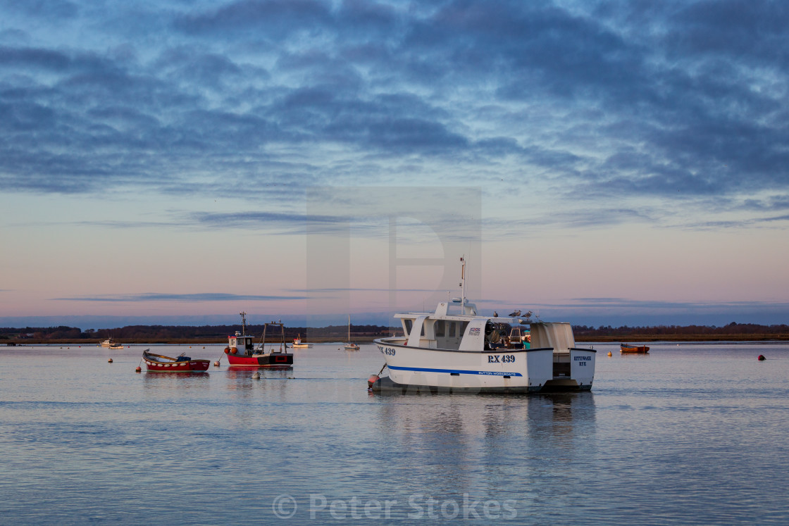 """Evening light, River Deben, Suffolk"" stock image"