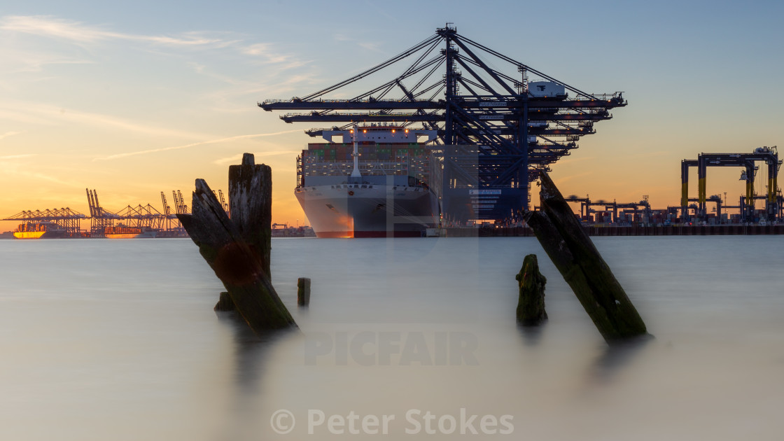 """Port of Felixstowe Golden Hour"" stock image"