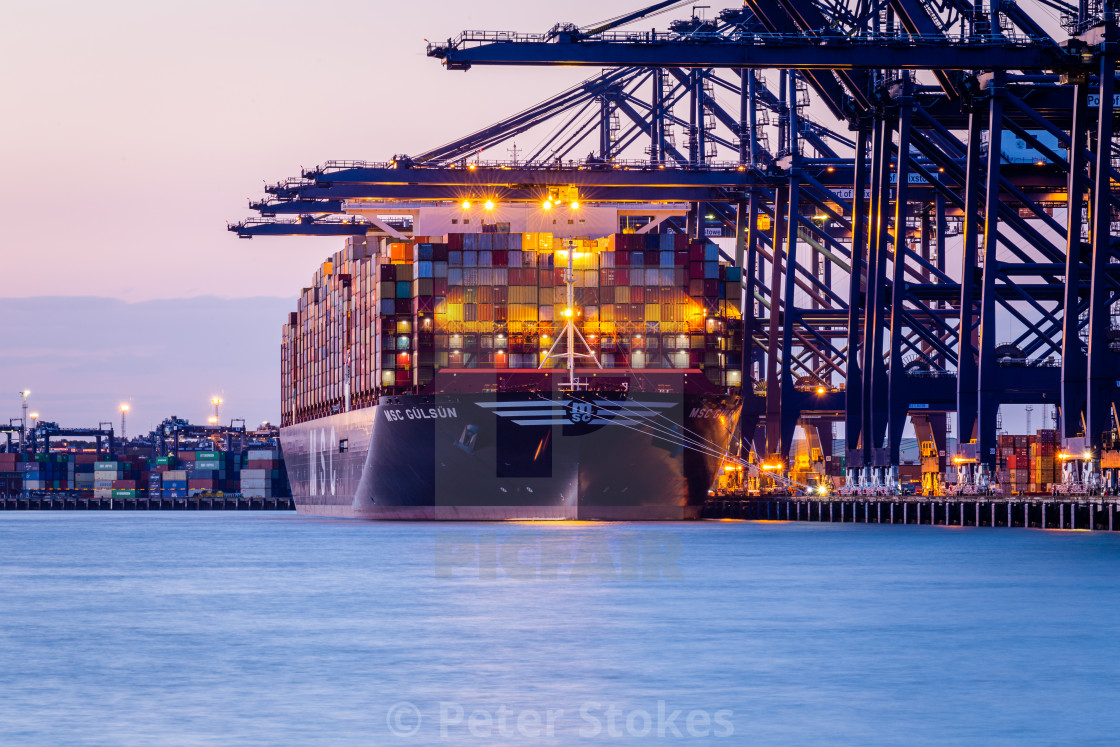 """World's largest containership MSC Gülsün"" stock image"