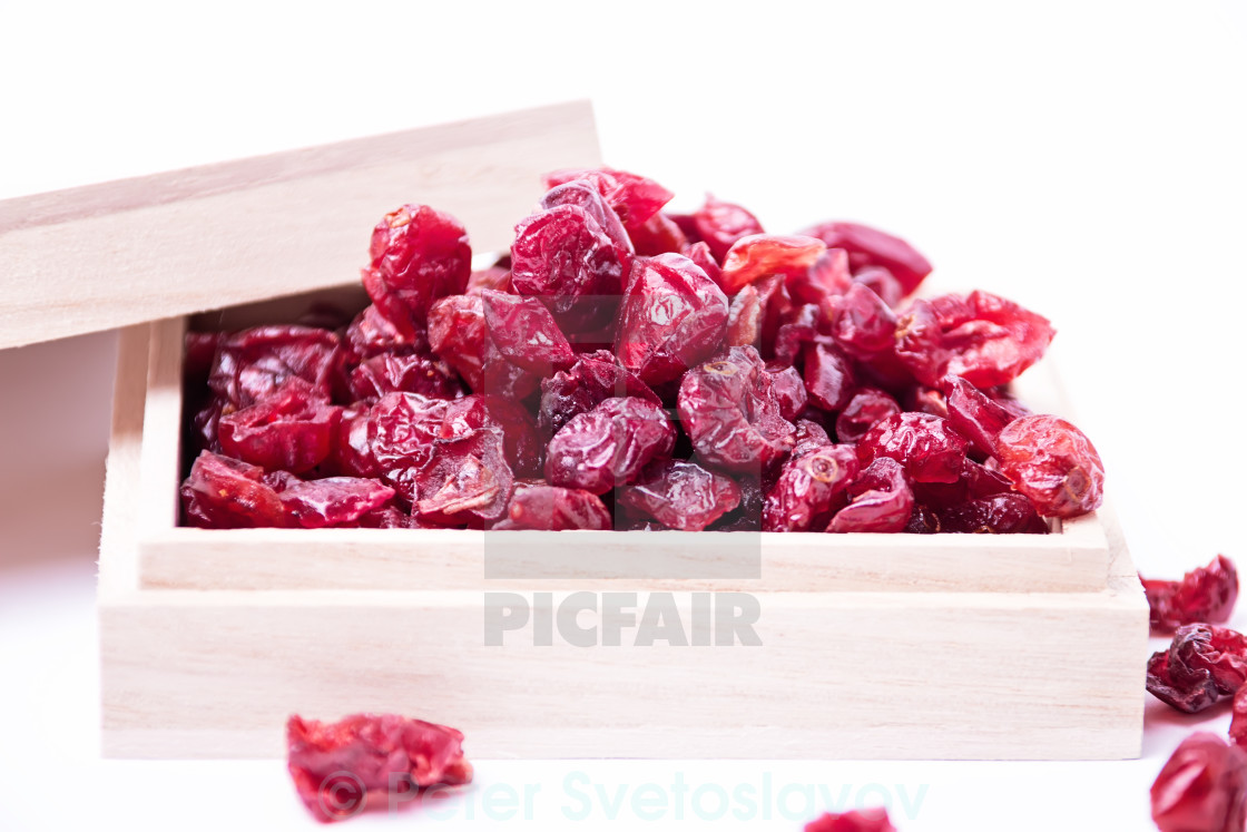 """Dried cranberries in a wooden box"" stock image"