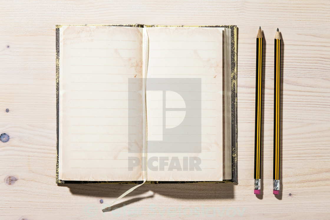 """""""Open Notebook And Pencil"""" stock image"""