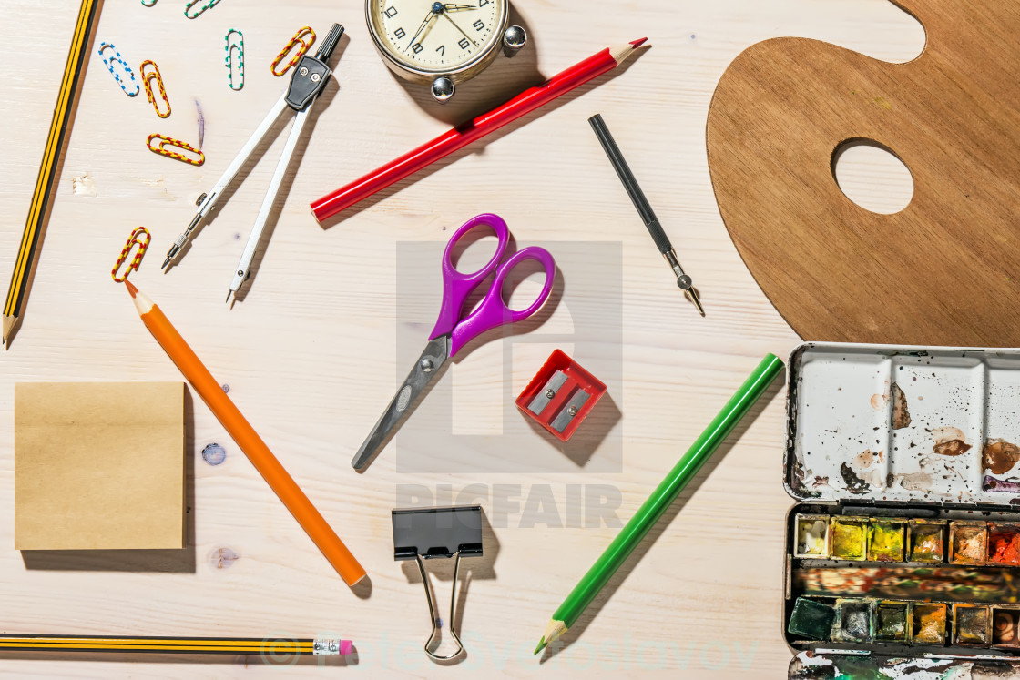 """School And Office Supplies On Wood Background. Back To School."" stock image"