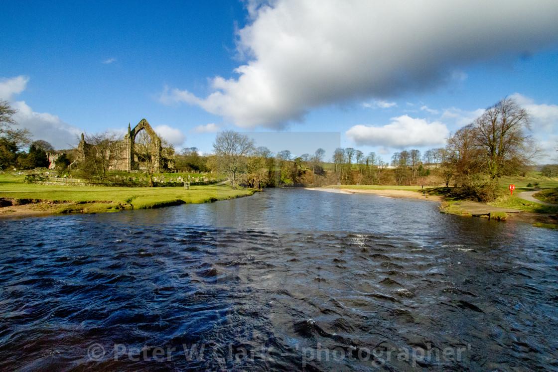 """River Wharfe at Bolton Abbey"" stock image"