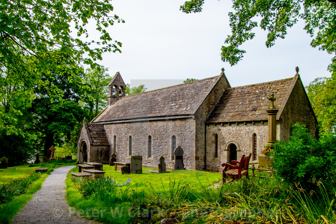 """""""St Mary's Church, Conistone in Wharfedale"""" stock image"""