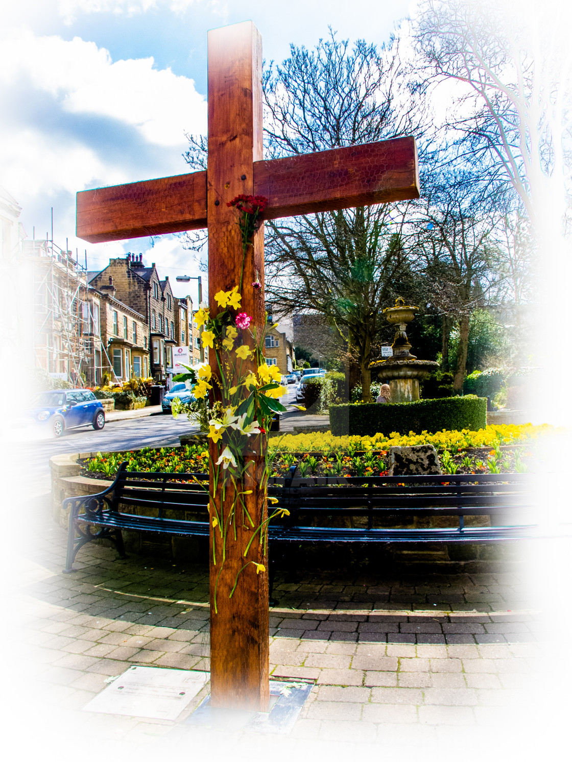 """Easter Cross, Ilkley"" stock image"
