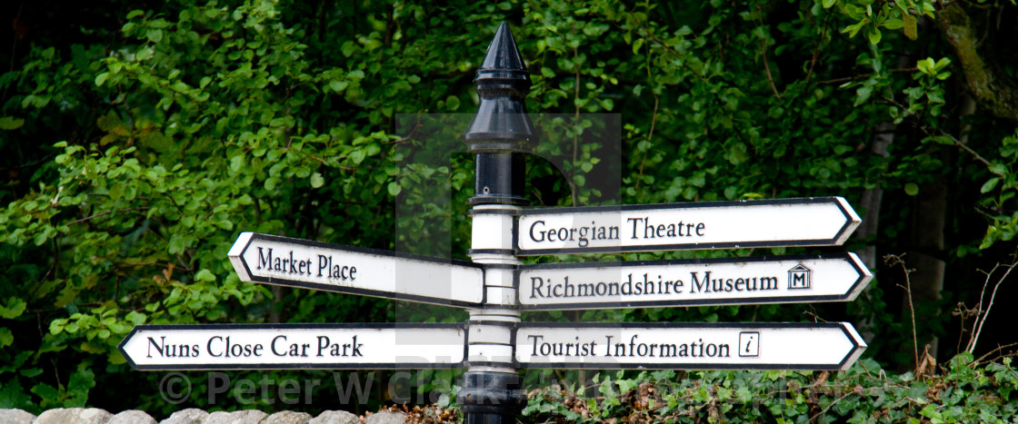 """Tourist Sign at Richmond, North Yorkshire"" stock image"