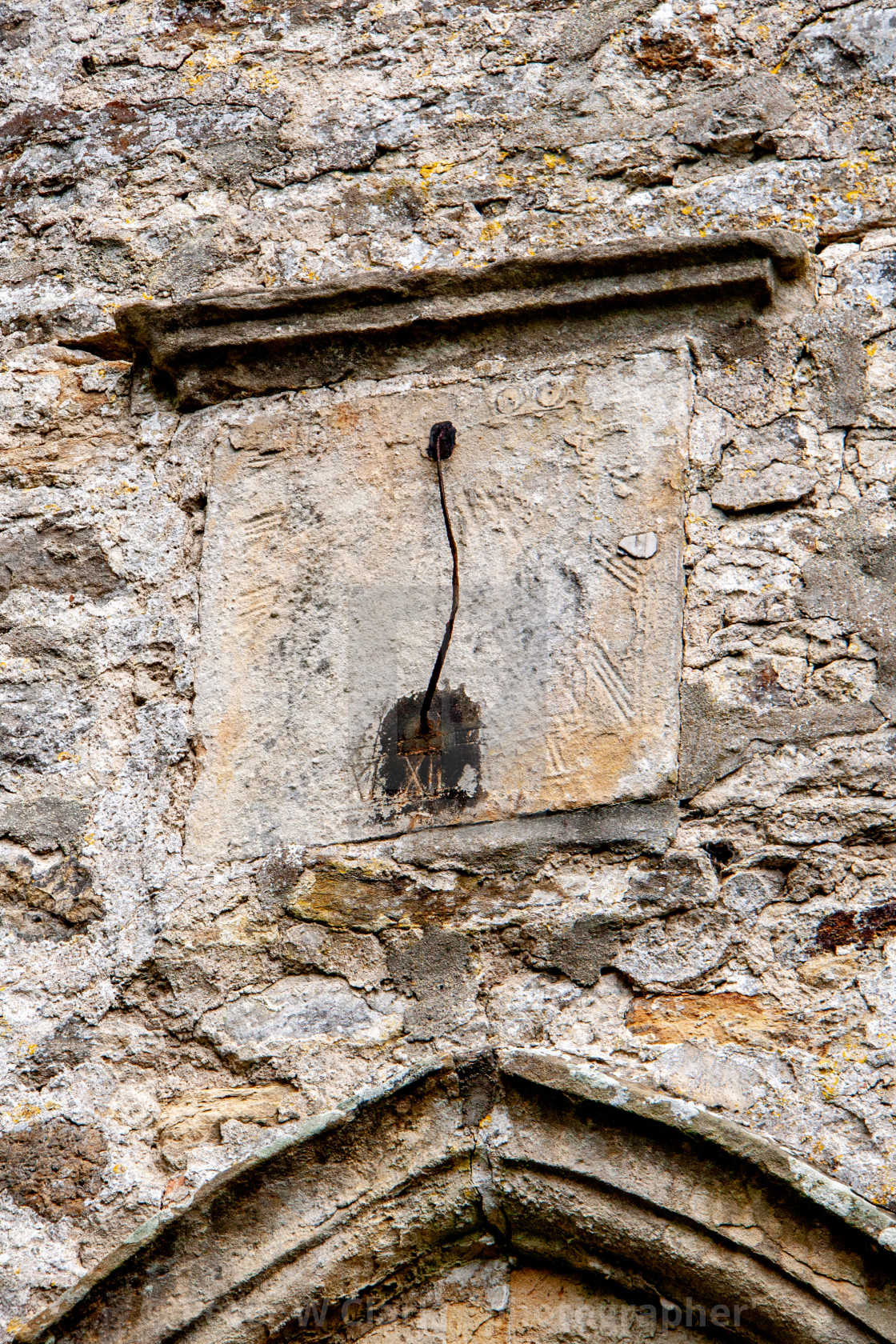 """Sundial at Church of St Edmund King and Martyr, Marske"" stock image"