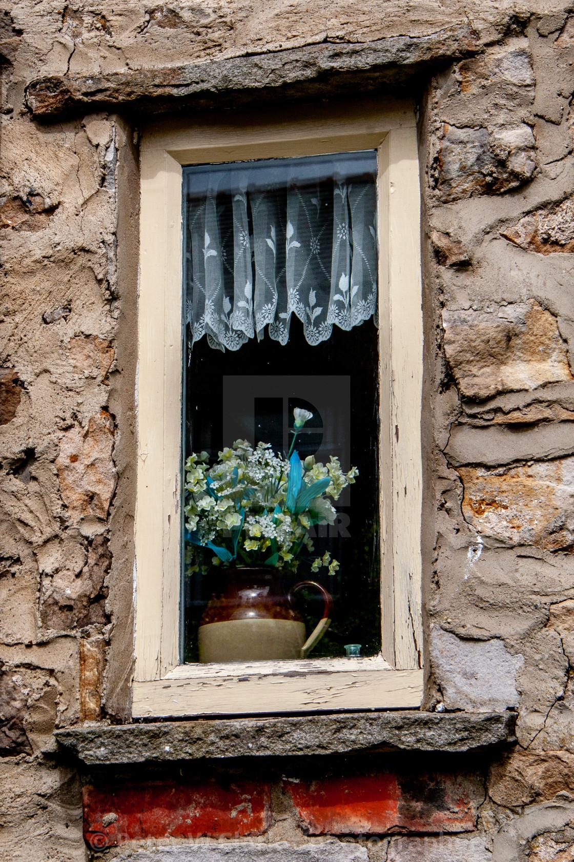 """Cottage Window, Marske, North Yorkshire"" stock image"
