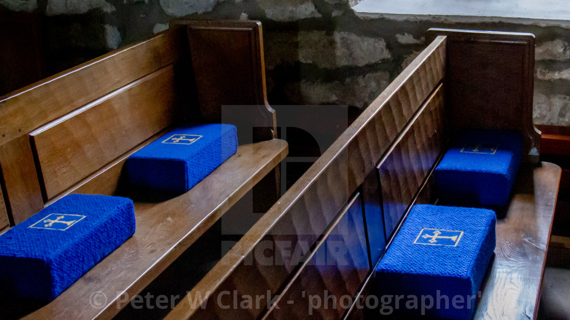 """""""St Mary's Church, Conistone, pews and kneelers"""" stock image"""