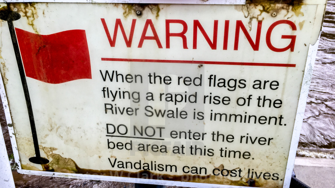 """Richmond, River Swale, Flood Alert Sign"" stock image"