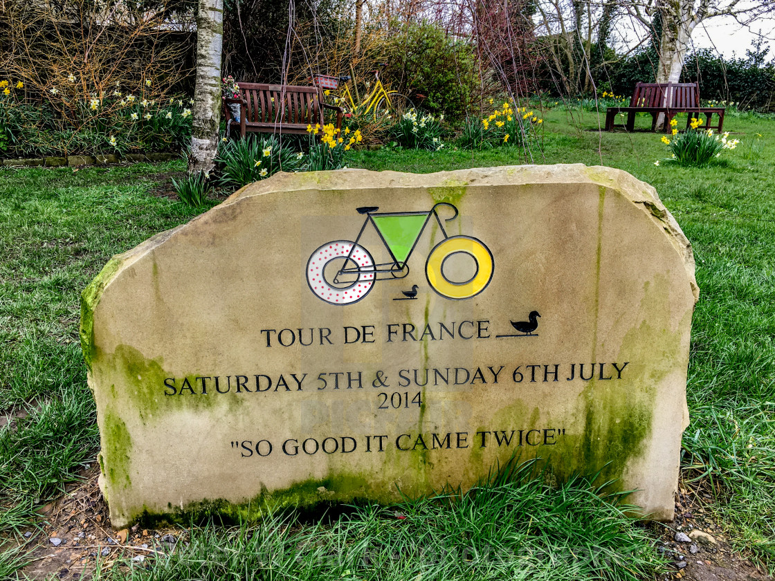 Tour De France stone to commemorate when the tour came through the village twice in 2014.